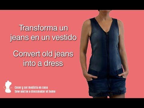 Transforma un jeans en un vestido