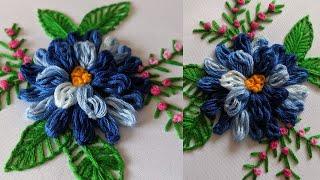 Hand Embroidery Brazilian Stitch Flower Design | Brazilian Embroidery *Amazing Chrysanthemum Flower