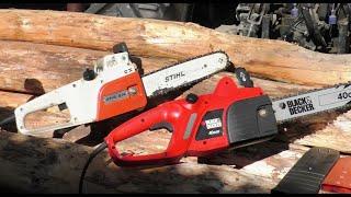 Elektro-Kettensäge Stihl vs. Black & Decker, teuer vs. billig, electric chainsaw expensive vs. cheap