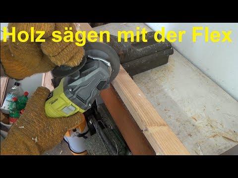 Holz sägen mit der Flex Winkelschleifen Holz schneiden bearbeiten Speedcutter Graff