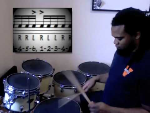 This is a teaching tool/technique that I use to get students comfortable using rudiments in their groove playing.