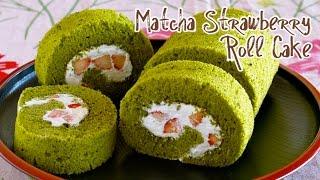 Matcha Strawberry Roll Cake (Japanese Swiss Roll Recipe) 抹茶いちごロールケーキ – OCHIKERON – CREATE EAT HAPPY