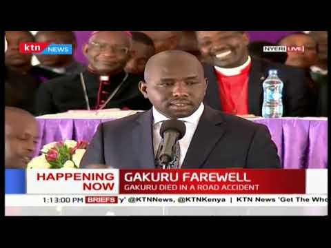 Elgeyo Senator Kipchumba Murkomen speaks at the late Nyeri Governor Wahome Gakuru's burial service