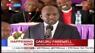 Elgeyo Senator Kipchumba Murkomen speaks at the late Nyeri Governor Wahome Gakuru's burial service