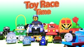 Toy Race! Hot Wheels 6 Lane with Duplo Train, Paw Patrol Chase, Batman toys and more