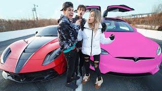 I RACED my GIRLFRIEND for $10,000! (Tesla vs Ferrari)