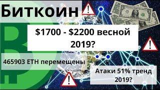 Биткоин. $1700 - $2200 весной 2019? 465903 ETH перемещены. Атаки 51% тренд 2019?