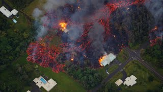 Aerial footage shows volcanic lava destroying homes in Hawaii - Video Youtube