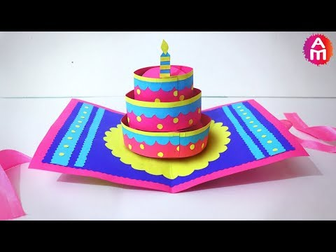 DIY-Beautiful Handmade Happy Birthday Card | ?3D Cake Pop Up Card | Artsy Madhu 35