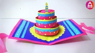 DIY-Beautiful Handmade Happy Birthday Card | 🎂3D Cake Pop Up Card | Artsy Madhu 35