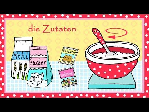 Deutsch lernen: Kuchenrezept zum Backen für Kinder - learn German: cake recipe