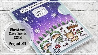 Lawn Fawn Reveal Wheel And Hello Bluebird North Pole Littles Christmas Card 2018
