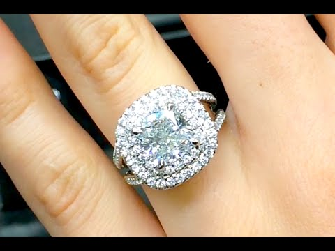 3 Carat Cushion Cut Diamond Double Halo Engagement Ring