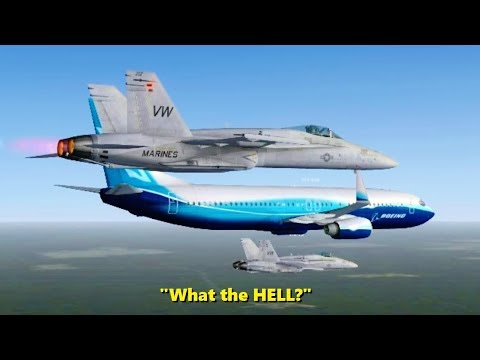 F-18s Escort a Boeing 737 in Flight Simulator X (Multiplayer)