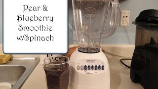 Pear and Blueberry Smoothie with Greens using a Regular Blender