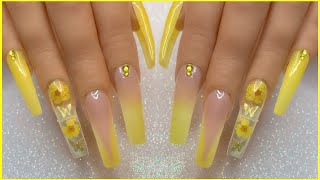 Yellow Spring Glitter Thermal Polygel Nail Design W/ Encapsulated Dried Flowers & Butterfly Charms