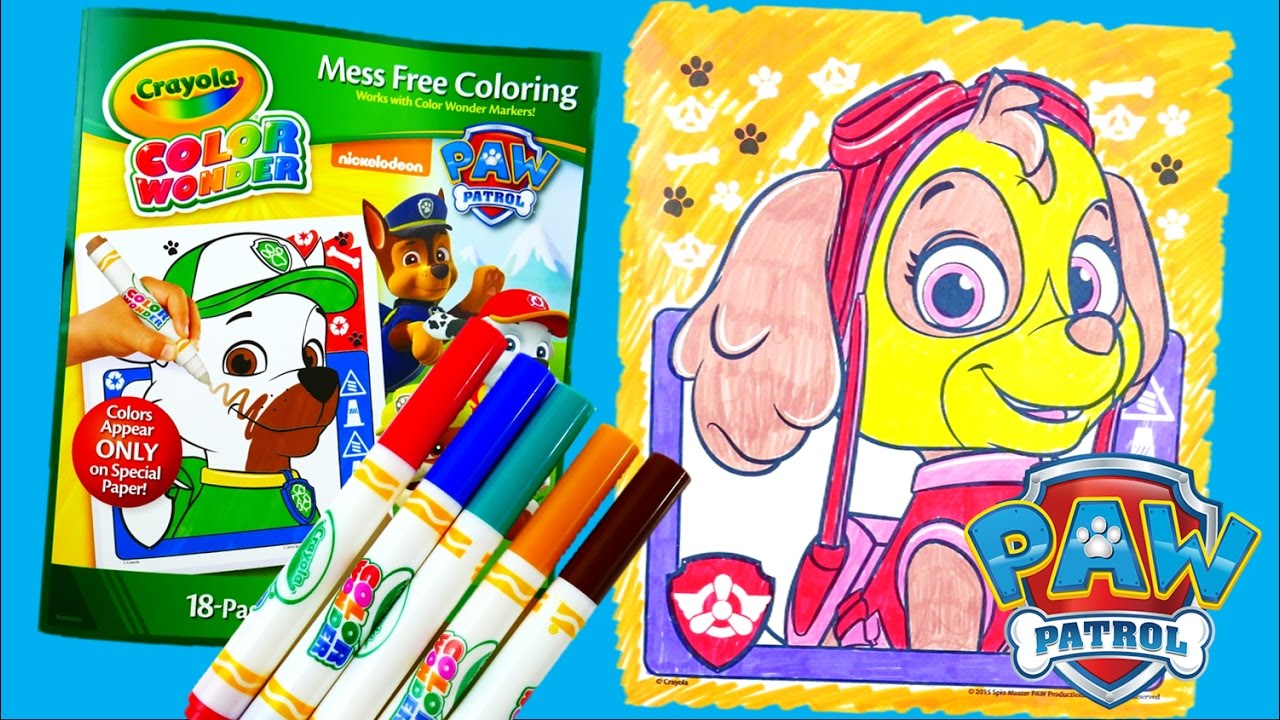 Coloring Skye - New Paw Patrol Coloring Book Crayola Color Wonder Episode   Evies Toy House