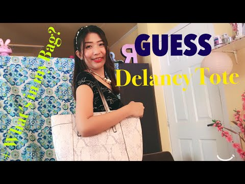 Guess Delaney Classic Large Tote- Python Gray + what's in my bag?
