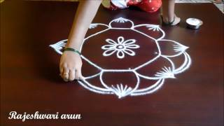 simple friday kolam designs with dots || muggulu with dots || rangoli by Rajeshwari Arun