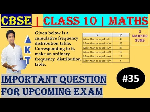 #35 CBSE | 2 Marks | Given below is a cumulative frequency distribution table.  Corresponding to it, make an ordinary frequency distribution table. | Class X | IMP Question