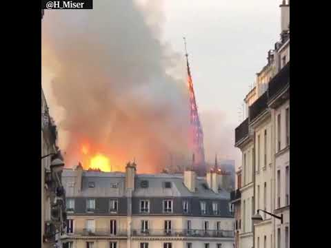 Notre-Dame Cathedral in Paris ravaged by a huge fire which toppled its spire Monday