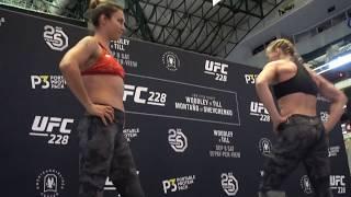 Valentina Shevchenko Dances With Sister Antonia Shevchenko At UFC 228 Open Workout