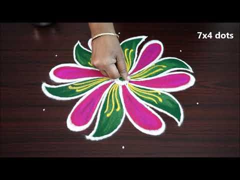 Simple nd easy muggulu with 7 x 4 dots small designs new rangoli kolam art designs