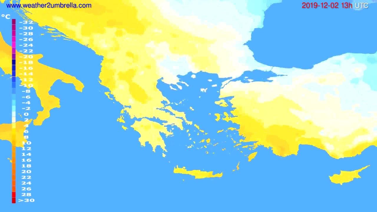 Temperature forecast Greece // modelrun: 12h UTC 2019-11-30