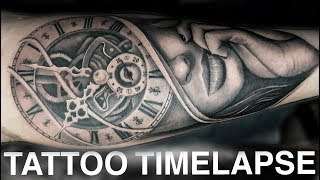 TATTOO TIMELAPSE | WOMAN AND CLOCK PORTRAIT | CHRISSY LEE