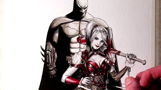 Batman And Harley Quinn Painting - Arkham Knight Fan Art Time Lapse