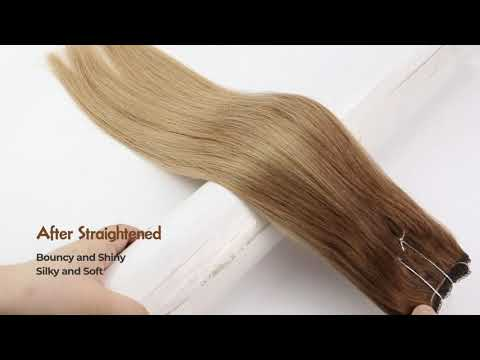 Full Shine Balayage Halo Hair Extensions Brown Ombre Blonde (#10/14)