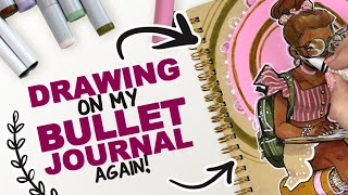 DRAWING ON MY BULLET JOURNAL! ...again! | Copic Markers + Acrylic Paint