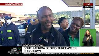 As the country begins its three-week nationwide lockdown in an effort to stem the spread of the coronavirus, long-distance passenger rail services and all other commuter rail services, such as Metrorail and the Gautrain, have been shut down. Buses, minibus taxis, metered and e-hailing taxis will only be allowed on the roads from 5am to 9am and from 4 to 8pm. They will only be allowed to carry essential workers and people who have been given permission to travel during the lockdown period. SABC News reporter Patricia Visagie is monitoring the situation at the Marabastad Transport Depot.   For more news, visit sabcnews.com and also #SABCNews #LockdownSA on Social Media.