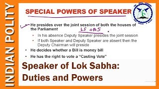 Speaker of Lok Sabha: Powers and Duties | Indian Polity | SSC CGL | by TVA