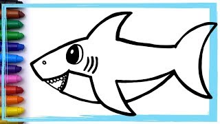 Baby Shark Song Drawing and Coloring Pages Learn Colors   Whoopee Playhouse