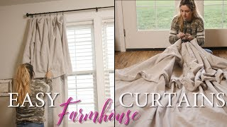 DROP CLOTH CURTAINS // NO SEW // FARMHOUSE STYLING TIPS