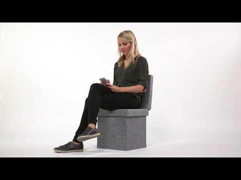 Faltbarer Sitzhocker Leinen mit Lehne in grau