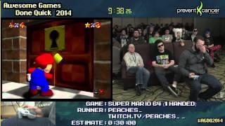 Super Mario 64 :: SPEED RUN (0:22:22) *16-Star/1-handed* by PEACHES_ #AGDQ 2014