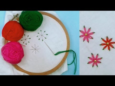 Lazy Daisy Double Colour Thread Flower Stitch | Hand Embroidery |  #WFAC 🌷🌸🌺🌺🌸