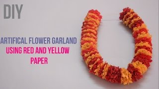 Artifical garland using red and yellow paper |Paper Garland| ||Creative Indian Arts|| #15