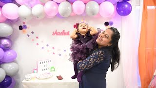 Aashvi's First Birthday Vlog || Party Decoration, Photoshoot, Return Gift, Moments, Celebration🤱