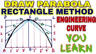 rectangle method for parabola in engineering drawing[hindi], engineering curve,you learn