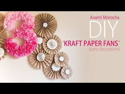 DIY Kraft Paper Fans Backdrop / Abanicos de Papel ( Party Decoration – Decoracion de Fiestas)