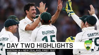 Steve Smith took a superhuman catch and Mitchell Starc claimed four wickets as New Zealand slumped to 5-109, after Josh Hazlewood's hamstring injury soured Australia's dream night on day two of the first Domain Test
