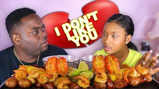 BEING MEAN To BEAST MODE To See How He React (HUGE PRAWNS + SHRIMP BOIL SEAFOOD MUKBANG) QUEEN BEAST