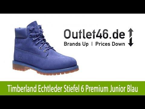 Timberland Echtleder Stiefel 6 Premium Junior Blau   Outlet46.de