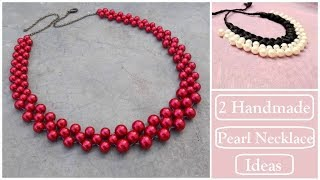 2 Handmade Necklace Ideas | Pearl Necklace Making Ideas| How To Make Silk Thread Necklace At Home