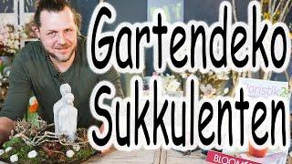 Minigarten mit Hauswurz   Tischdeko Innen oder Außen   Garten Deko mit Sukkulenten
