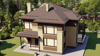Проект дома 198-B, Площадь дома: 198 м2, Размер дома:  12,2x12,5 м