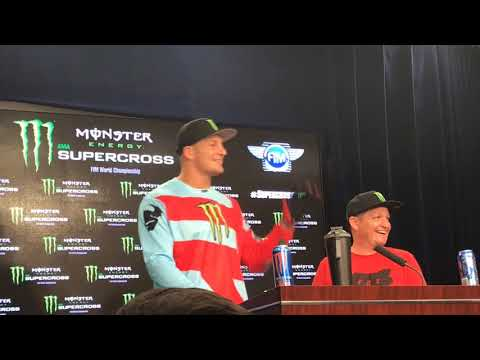 Rob Ninkovich Interviews Rob Gronkowski At Supercross Press Conference